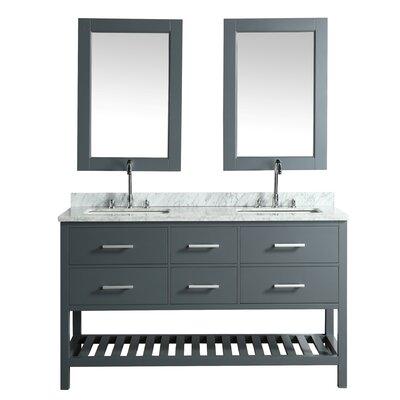 London Cambridge 72 Double Bathroom Vanity Set with Mirror