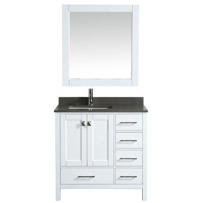 London Hyde 36 Single Bathroom Vanity with Mirror Base Finish: White
