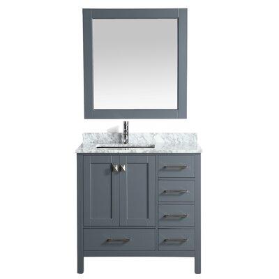 London Hyde 36 Single Bathroom Vanity with Mirror Base Finish: Gray