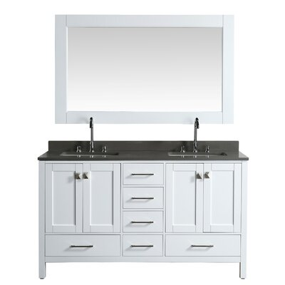 London Hyde 60 Double Bathroom Vanity Set with Mirror