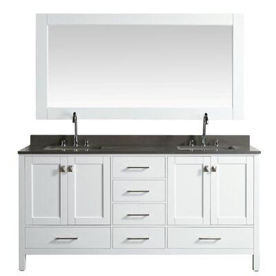 London Hyde 72 Double Bathroom Vanity Set with Mirror