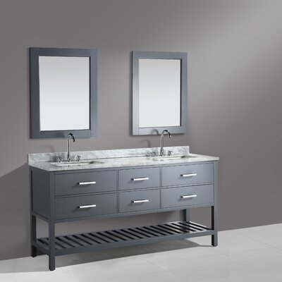 London Cambridge 61 Double Bathroom Vanity Set with Mirror