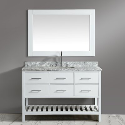 London Cambridge 54 Single Bathroom Vanity Set with Mirror Base Finish: White