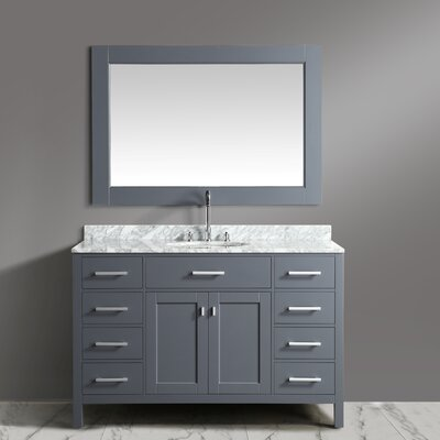 London Stanmark 54 Single Bathroom Vanity Set with Mirror Base Finish: Gray