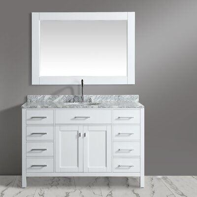 London Stanmark 54 Single Bathroom Vanity Set with Mirror Base Finish: White