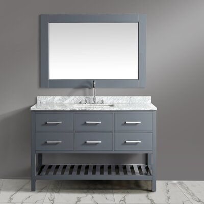 London Cambridge 54 Single Bathroom Vanity Set with Mirror Base Finish: Gray