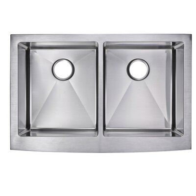 0.59 Corner Radius 50/50 Stainless Steel 33 x 22 Double Apron Kitchen Sink