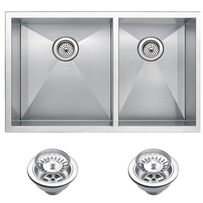 Zero Radius 60/40 Stainless Steel 33 x 20 Double Undermount Kitchen Sink with Drain and Strainer