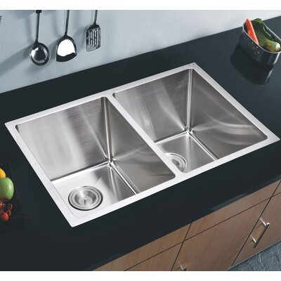 50/50 Stainless Steel 31 x 18 Double Basin Undermount Kitchen Sink with Coved Corner