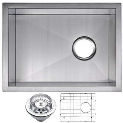Zero Radius Stainless Steel 15 x 20 Single Undermount Bar Sink with Drain, Strainer and Bottom Grid