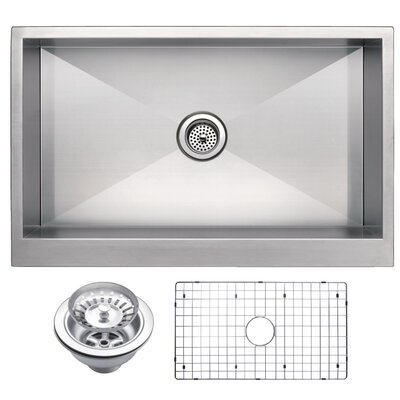 Zero Radius Stainless Steel 33 x 21 Single Apron Kitchen Sink with Drain, Strainer and Bottom Grid