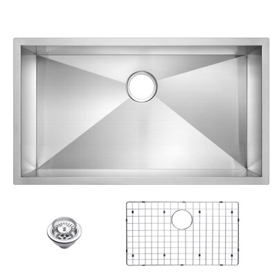 Zero Radius Stainless Steel 33 x 19 Single Undermount Kitchen Sink with Drain and Strainer