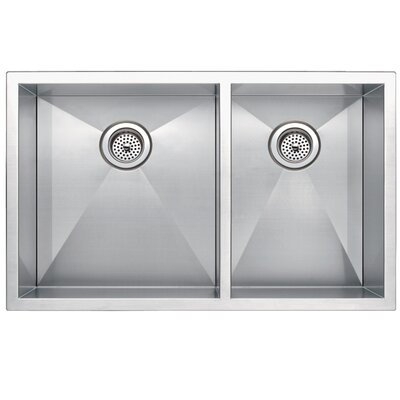 Zero Radius 60/40 Stainless Steel 33 x 20 Double Basin Undermount Kitchen Sink