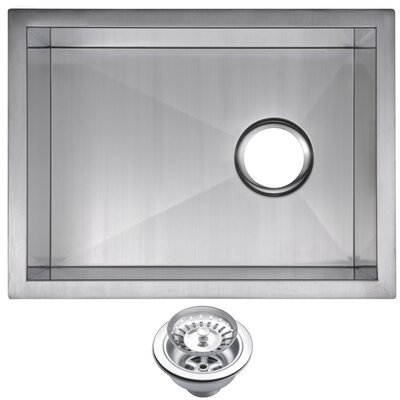 Zero Radius Stainless Steel 15 x 20 Single Undermount Bar Sink with Drain and Strainer