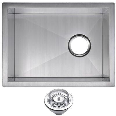 Zero Radius Stainless Steel 15 x 20 Single Undermount Bar Sink with Drain and Strainer