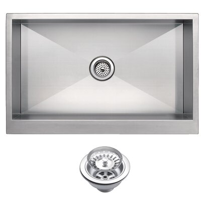 Zero Radius Stainless Steel 33 x 21 Farmhouse Kitchen Sink with Drain and Strainer