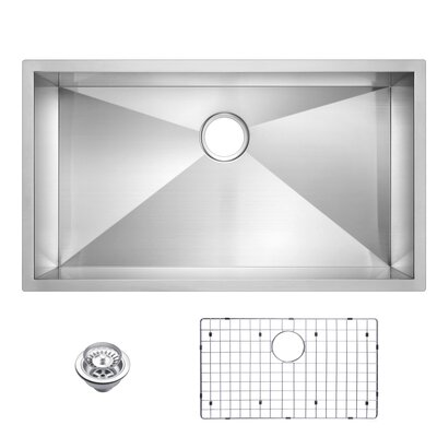 Zero Radius Stainless Steel 33 x 19 Single Undermount Kitchen Sink with Drain, Strainer and Bottom Grid