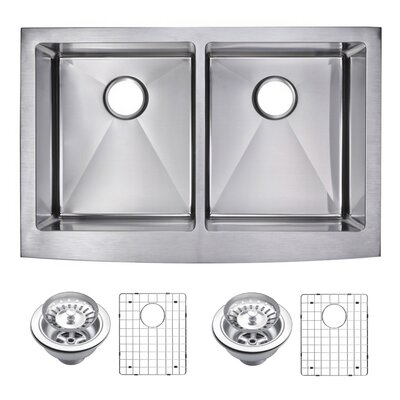0.59 Corner Radius 50/50 Stainless Steel 33 x 22 Double Apron Kitchen Sink with Drain, Strainer and Bottom Grid