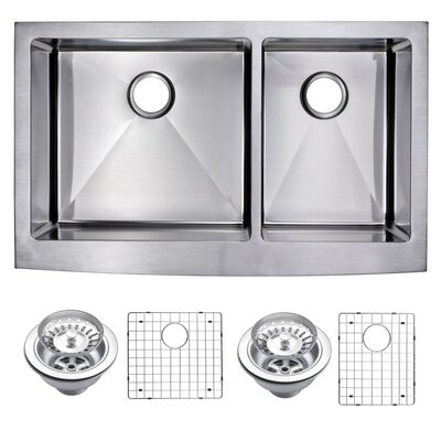 0.59 Corner Radius 60/40 Stainless Steel 36 x 22 Double Apron Kitchen Sink with Drain, Strainer and Bottom Grid
