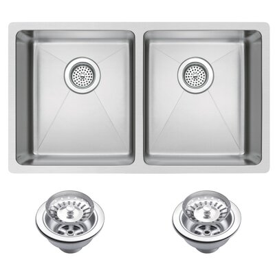 50/50 Stainless Steel 31 x 18 Double Undermount Kitchen Sink with Coved Corner, Drain and Strainer