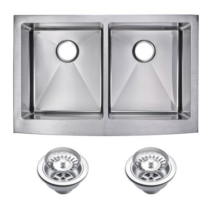 0.59 Corner Radius 50/50 Stainless Steel 33 x 22 Double Apron Kitchen Sink with Drain and Strainer