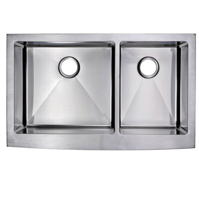 0.59 Corner Radius 60/40 Stainless Steel 36 x 22 Double Apron Kitchen Sink