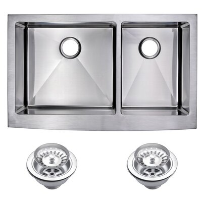 0.59 Corner Radius 60/40 Stainless Steel 36 x 22 Double Apron Kitchen Sink with Drain and Strainer