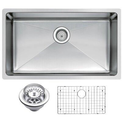 Stainless Steel 30 x 18 Single Undermount Kitchen Sink with Coved Corner, Drain, Strainer and Bottom Grid