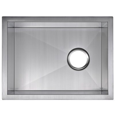 Zero Radius Stainless Steel 15 x 20 Single Undermount Bar Sink