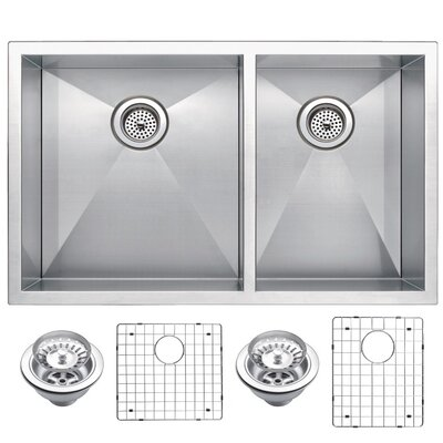 Zero Radius 60/40 Stainless Steel 33 x 20 Double Undermount Kitchen Sink with Drain, Strainer and Bottom Grid
