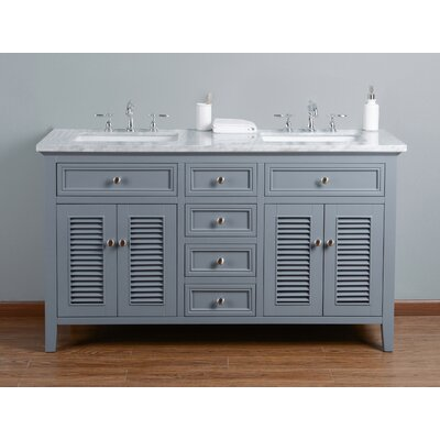 Richards 60 Double Bathroom Vanity Set Base Finish: Gray