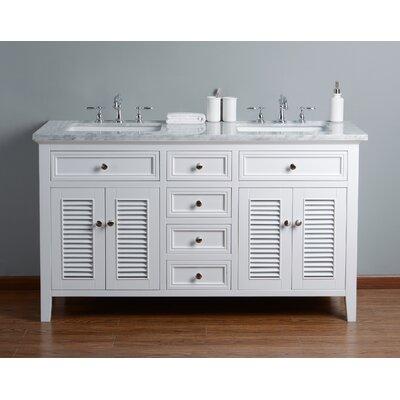 Richards 60 Double Bathroom Vanity Set Base Finish: White