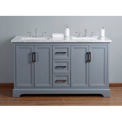 Ravenworth 60 Double Bathroom Vanity Set Base Finish: Gray