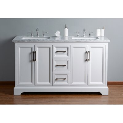 Ravenworth 60 Double Bathroom Vanity Set Base Finish: White