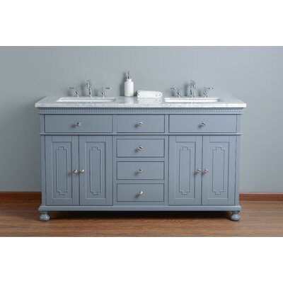60 Double Bathroom Vanity Set Base Finish: Gray