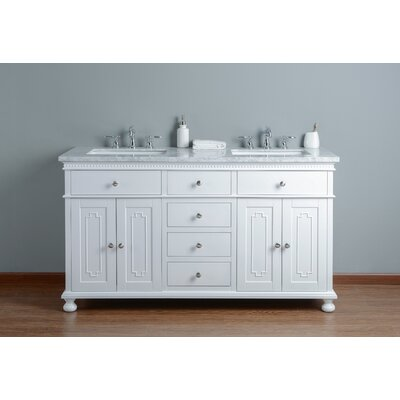 60 Double Bathroom Vanity Set Base Finish: White