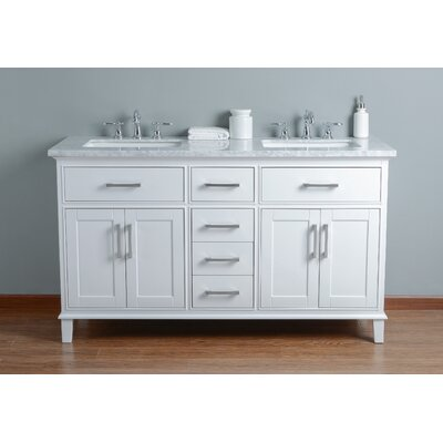 Mundy 60 Double Bathroom Vanity Set Base Finish: White