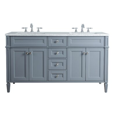 Mauricio French 60 Double Bathroom Vanity Set Base Finish: Gray