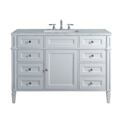 Mauricio French 48 Single Bathroom Vanity Set Base Finish: White