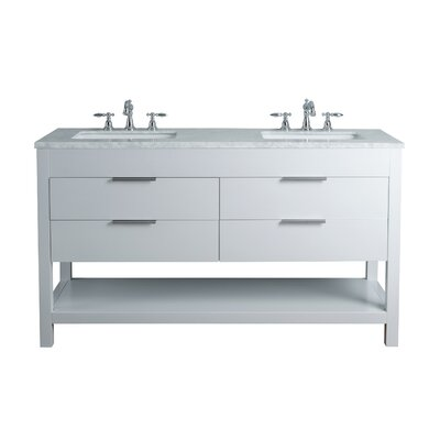 Knorr 60 Double Bathroom Vanity Set Base Finish: White