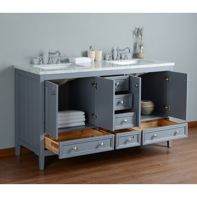 Murdoch 60 Double Bathroom Vanity Set Base Finish: Gray