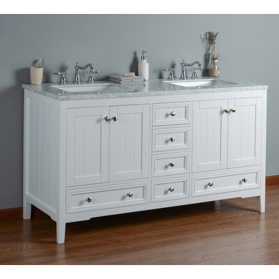 Murdoch 60 Double Bathroom Vanity Set Base Finish: White