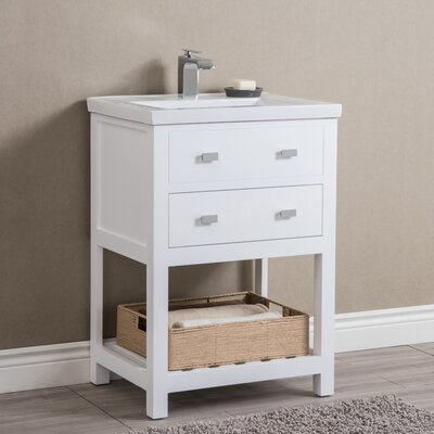 Knighten Modern 24 Single Bathroom Vanity Set Base Finish: White