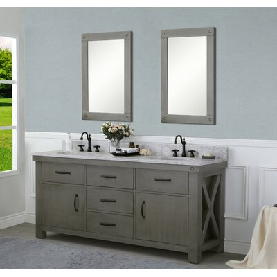 Cleora 72 Double Bathroom Vanity Set with Mirror