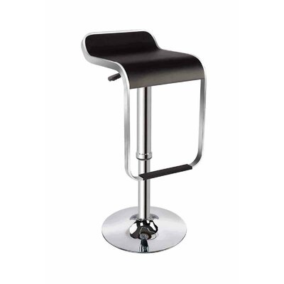 Ellie Adjustable Height Swivel Bar Stool Upholstery: Black