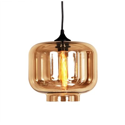 Bergen 1-Light Pendant Shade Color: Brown Tint