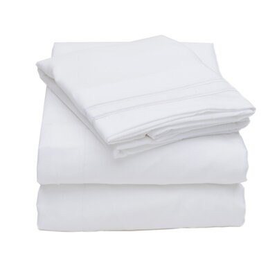 Sweet Home Collection Olivia Branch 1800 Thread Count Microfiber Sheet Set - Color: Navy Size: King