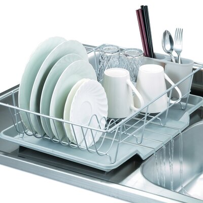 3 Piece Dish Drainer Set Color: Silver