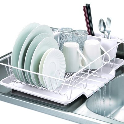 3 Piece Dish Drainer Set Color: White