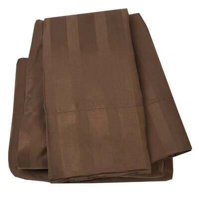 Dobby Stripe 1500 Thread Count Sheet Set Size: Full, Color: Brown